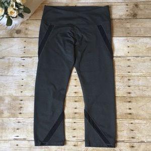 Fabletics Gray & Mesh Panel Crop Leggings size Md